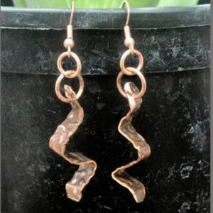 Handmade Copper Rustic Earrings Small Drop Artisan
